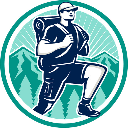 stride: Illustration of a hiker hiking walking striding facing front with trees and mountains in background set inside circle done in retro style.