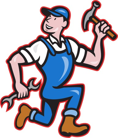 hand wrench: Illustration of a carpenter builder construction worker with hammer in one hand and spanner wrench in the other running looking on isolated white background done in cartoon style.