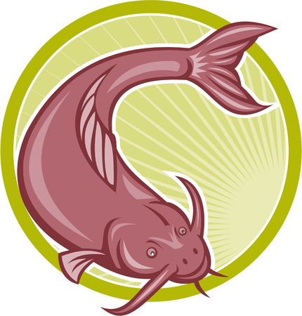 barbel: Illustration of a catfish diving down set inside circle done in cartoon style.