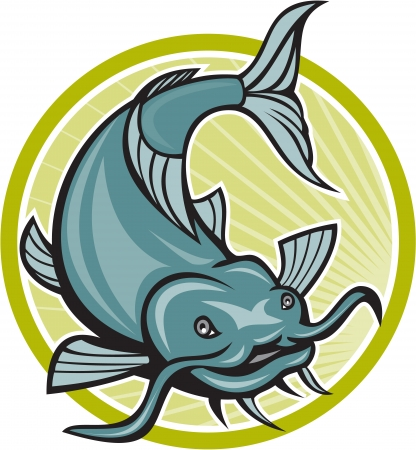 barbel: Illustration of a catfish attacking diving down about to attack set inside circle done in cartoon style.