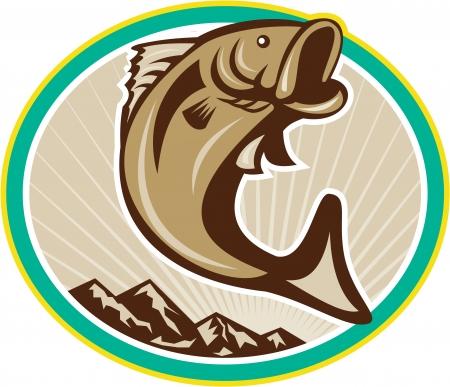 Illustration d'un saut de poisson achigan à grande bouche placé le cercle intérieur avec des montagnes fait dans le style de bande dessinée sur fond blanc.