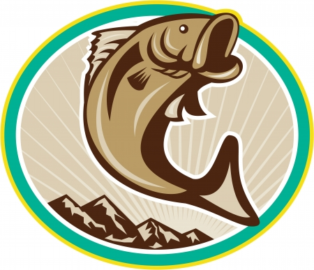Illustration of a largemouth bass fish jumping set inside circle with mountains done in cartoon style on isolated white background.