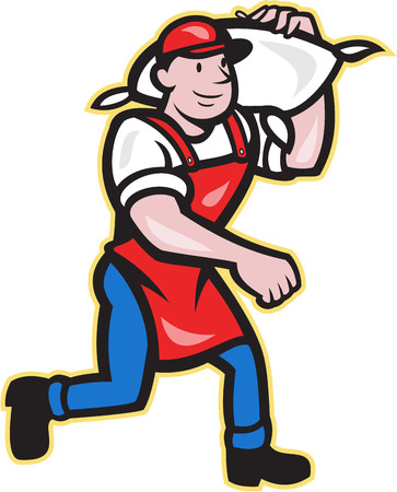 Illustration of a flour miller worker wearing apron bib carrying flour sack on shoulder walking on isolated white background in cartoon style. Illustration