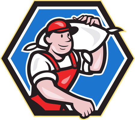 the miller: Illustration of a flour miller worker wearing apron bib carrying flour sack on shoulder set inside hexagon done in cartoon style.
