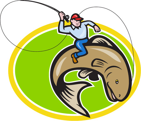 Illustration of a fly fisherman holding rod and reel riding trout fish set inside oval shape done in cartoon style on isolated background. Vector