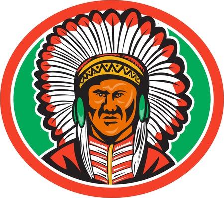 chieftain: Illustrazione di un capo indiano nativo americano guardando da davanti insieme dentro il cerchio fatto in stile retr� isolato su sfondo bianco. Vettoriali