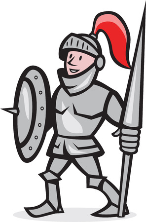 knight helmet: Illustration of knight in full armor with lance and shield facing front standing on isolated white background done in cartoon style. Illustration