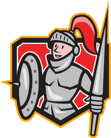 medieval warrior: Illustration of knight in full armor with lance and shield facing front set inside shield done in cartoon style.