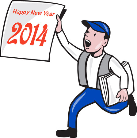 Illustration of a newspaper boy wearing cap selling, shouting and showing a paper sign with words Happy New Year 2014 which is the year of the horse done in cartoon style on isolated white background. Vector