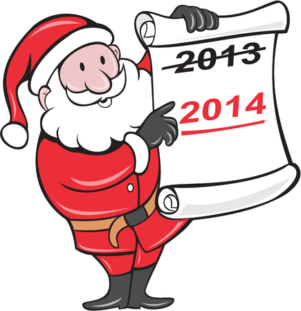 crossed out: Illustration of Father Christmas Santa Claus showing a paper scroll with year 2013 crossed out and pointing to New Year 2014 on isolated background done in cartoon  style.