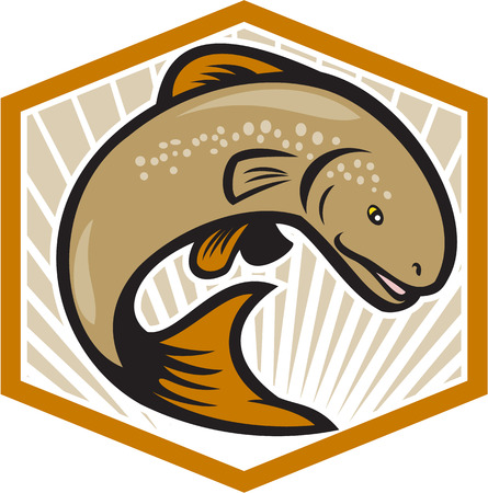 Illustration of a trout fish jumping set inside shield with sunburst in background set inside crest done in cartoon style Vector