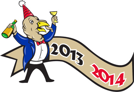 toasting: Illustration of a turkey in tuxedo suit wearing party hat holding wine bottle in one hand and glass on the other toasting for happy new year with ribbon 2014 done in cartoon style.