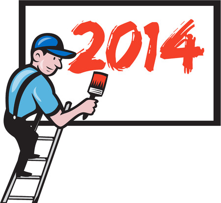 Illustration of a painter signwriter worker on step ladder with paintbrush painting billboard sign with new year 2014 on isolated on white done in cartoon style. Vector