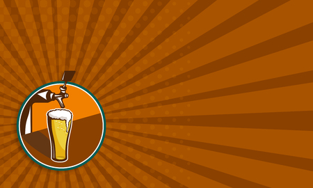 beer tap: Business card template showing illustration of glass pint of beer with tap Stock Photo