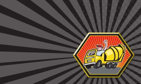 Business card template showing illustration of a construction worker driver driving a cement truck done in cartoon style. illustration