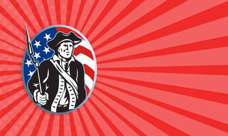 Business card template showing illustration of an American patriot minuteman revolutionary soldier with musket bayonet rifle and stars and stripes flag set inside ellipse done in retro style. illustration