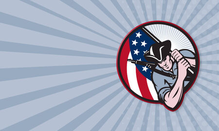 american soldier: Business card template showing illustration of an American patriot minuteman revolutionary soldier with stars and stripes flag set inside circle done in retro style. Stock Photo
