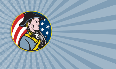 Business card template showing illustration of an American patriot minuteman revolutionary soldier with musket rifle and stars and stripes flag set inside circle done in retro style. illustration
