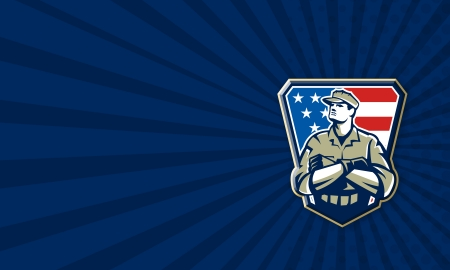 veteran: Business card template illustration of an American soldier military serviceman looking up with arms folded facing front with USA stars and stripes flag in background set inside crest shield.