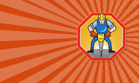 jackhammer: Business card template showing illustration of a construction worker with jack hammer pneumatic drill done in cartoon style set inside hexagon.