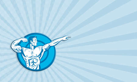 flexing: Business card template showing illustration of a bodybuilder training exercise flexing muscle pointing viewed from the side set inside circle done in retro style. Stock Photo