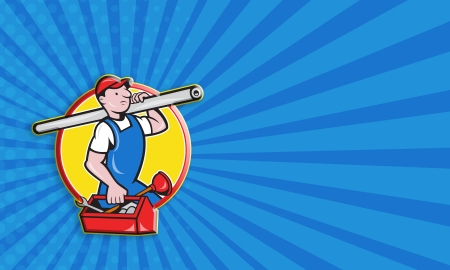 Business card template illustration of a plumber carrying pipe and toolbox running done in cartoon style on isolated background. illustration
