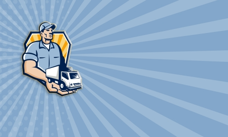 removal van: Business card template illustration of a removal man delivery guy with moving truck van on the palm of his hand handing it over to you set inside shield circle done in retro style.