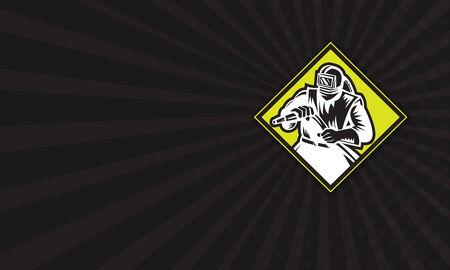 visor: Business card template illustration of a sandblaster worker holding sandblasting hose wearing helmet visor set inside diamond shape done in retro style.