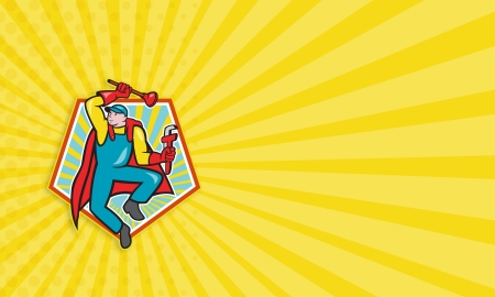 Business card template illustration of a superhero super plumber jumping with cape holding monkey wrench and plunger done in cartoon style with pentagon shape in background. illustration