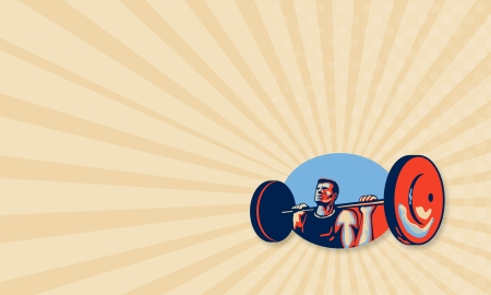 Business card template showing illustration of a weightlifter lifting weights viewed from low angle done in retro style. illustration