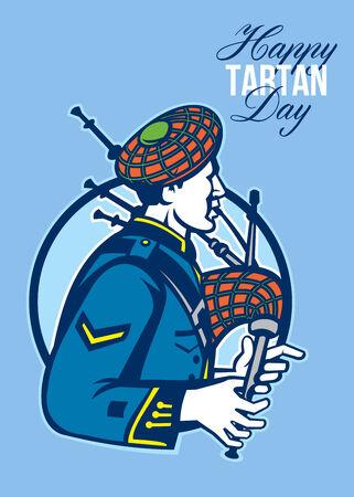 gaita: Poster Tarjeta de felicitaci�n que muestra la ilustraci�n de un gaitero escoc�s que toca las gaitas vistos de lado dentro de c�rculo con las palabras Feliz D�a de tart�n