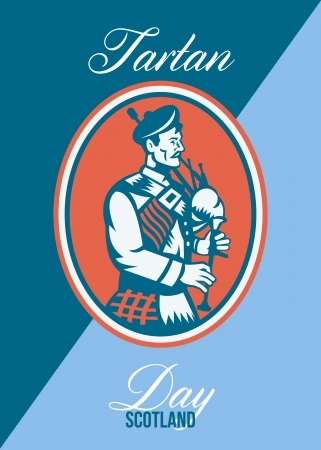 bagpipes: Greeting card poster showing illustration of a scotsman bagpiper playing bagpipes viewed from side set inside circle with words Tartan Day Scotland