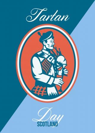 gaita: Poster Tarjeta de felicitación que muestra la ilustración de un gaitero escocés que toca las gaitas vistos de lado dentro de círculo con las palabras del día del tartán Escocia