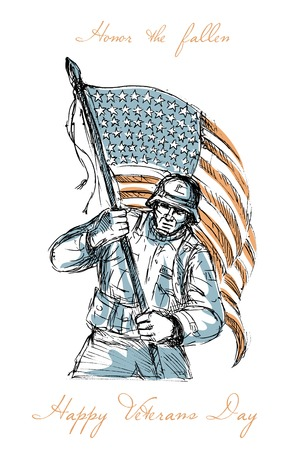full day: Greeting card poster showing hand drawn sketch illustration of an American soldier in full battle gear carrying stars and stripes flag with words Happy Veterans Day