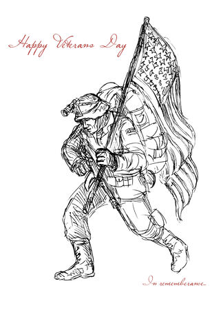 american soldier: Greeting card poster showing hand drawn sketch illustration of an American soldier in full battle gear carrying stars and stripes flag with words Happy Veterans Day in remembrance  Stock Photo
