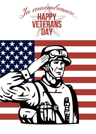 serviceman: Greeting card poster showing illustration of an American soldier serviceman saluting with stars and stripes flag in background Happy Veterans Day.