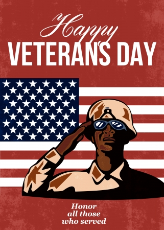 Greeting card poster showing illustration of an African American soldier serviceman saluting with stars and stripes flag in background Happy Veterans Day honor those who served. illustration