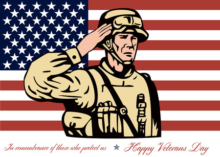 Salute: Greeting card poster showing illustration of an American soldier serviceman saluting with stars and stripes flag in background Happy Veterans Day in remembrance to those who protect us. Stock Photo