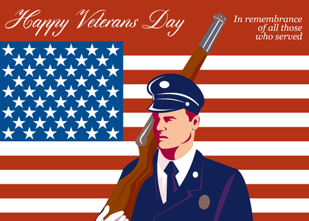 solider: Greeting card illustration of an American solider serviceman with rifle flag in background with words Happy Veterans day in remembrance to those who served. Stock Photo
