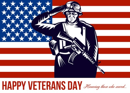 honoring: Greeting card poster showing illustration of a US military serviceman saluting  flag in the back with words Happy Veterans Day honoring those who served.