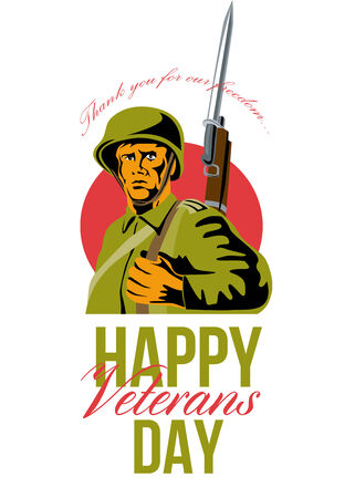bayonet: Greeting card poster showing illustration of soldier with bayonet isolated on  white background done in retro style Happy Veterans day.