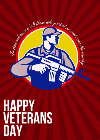 assault rifle: Greeting card poster showing illustration of an American soldier serviceman with assault rifle looking to side set inside circle with words Happy Veterans day.