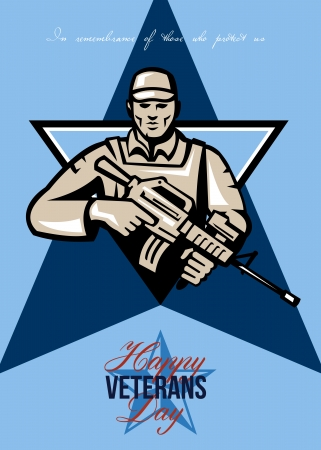 assault rifle: Greeting card poster showing illustration of an American soldier serviceman with assault rifle facing front set inside shield crest with words Happy Veterans day.