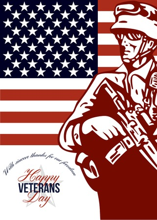 american soldier: Greeting card poster showing illustration of an American soldier serviceman carrying armalite rifle with stars and stripes flag in background with words Happy Veterans Day