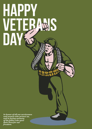 ww2: Greeting card poster showing illustration of a world war two soldier running punching done in retro style with words Happy Veterans day.