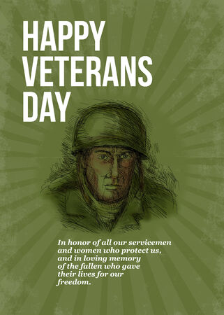 veterans day: Greeting card poster showing hand sketched illustration of a world war two soldier facing front in retro style with words Happy Veterans day. Stock Photo