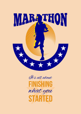 about you: Poster greeting card illustration showing marathon triathlete runner running done in retro style with words Marathon, its all about finishing what you started. Stock Photo
