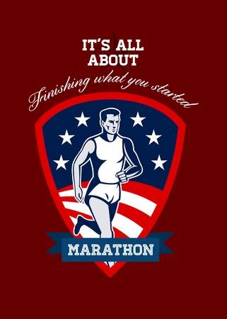 즉 마라톤과 방패 배경에 미국 국기 별과 줄무늬과 햇살 복고 스타일을 이루어 마라톤을 보여주는 포스터 인사말 카드 그림은 모든 당신이 시작한 일