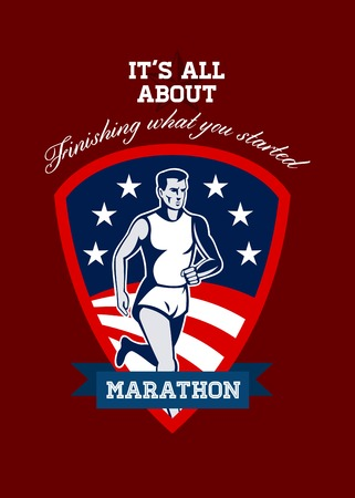 Poster greeting card illustration showing a Marathon runner done in retro style with american flag stars and stripes and sunburst in shield background with words Marathon, its all about finishing what you started.