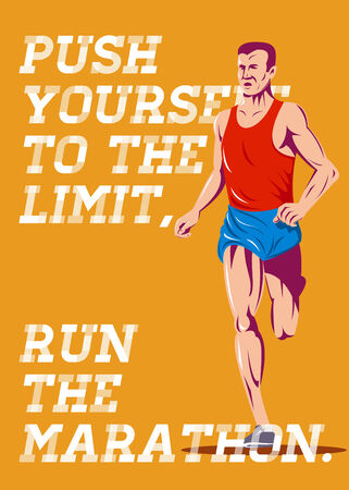 yourself: Poster greeting card illustration showing a marathon runner running race done in retro style with words Push yourself to the limit, Run the Marathon Stock Photo